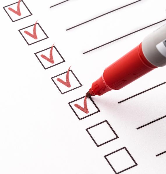 checklist, red pen, check mark